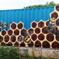 Beehive Shipping Container Front
