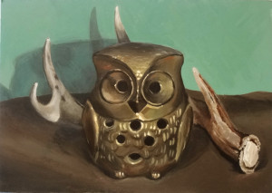Painting of a Gold Owl