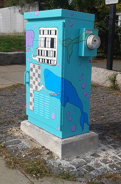 painted electrical box with whale design by Sophy Tuttle.