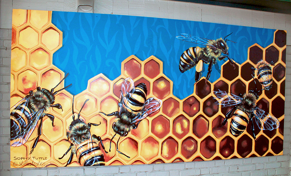 Sophy Tuttle's bee mural in Salem, MA