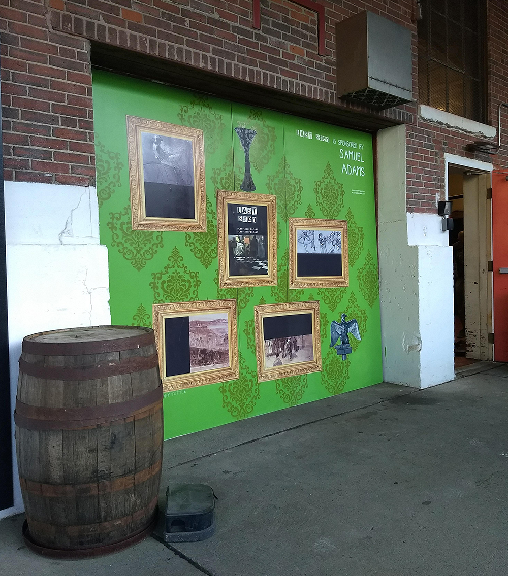 Sophy Tuttle's mural at the Sam Adams Brewery promoting the Last Seen podcast.