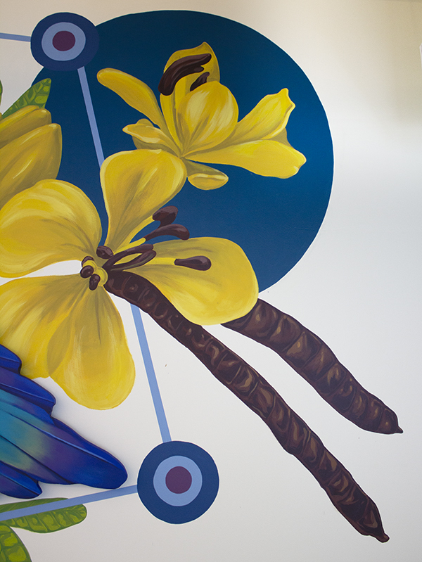 flower detail of Sophy Tuttle's magpie mural.