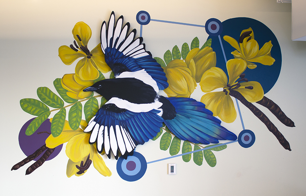 magpie mural by Sophy Tuttle