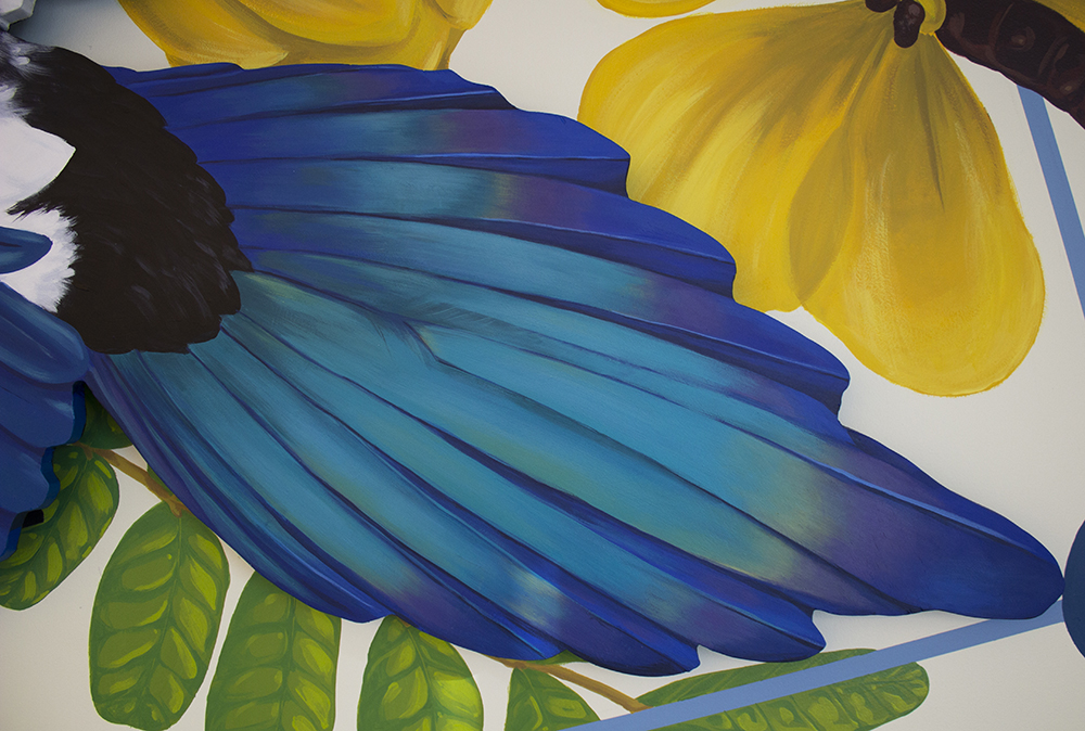 tail detail of Sophy Tuttle's magpie mural.