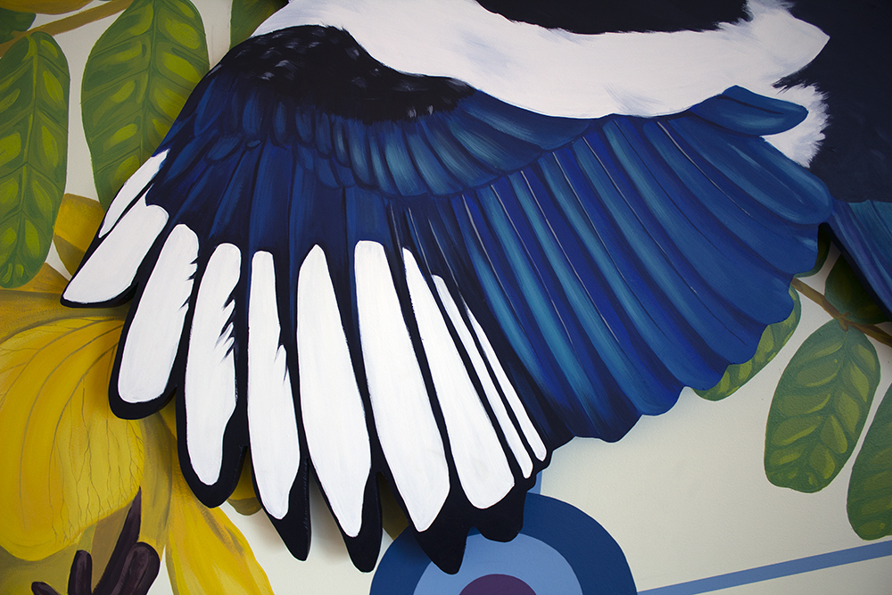 wing detail of Sophy Tuttle's magpie mural.