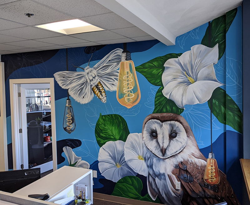 Mural of moth, lightbulbs, and barn owl